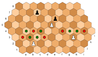 Hexagonal chess - The white pawn on c2, since it has not yet moved, has four move options (green dots) and three ways to capture (red dots). The white pawn on i3 has moved from its initial cell, so has  two move options and two ways to capture. The white pawn on g5 and black pawn on h6 block each other from any forward moves. But if Black moves his f7-pawn to either f6 or f5, White can capture it, for example: 1... f7-f5 2. g5xf6 e.p.