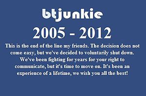 BTJunkie - The screenshot of BTJunkie's message for their closure.