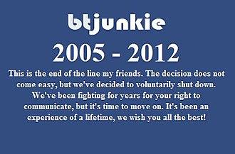 BTJunkie - The screenshot of BTJunkie's message for their closure.