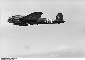 Kampfgeschwader 100 - He 111 with a SC1000 bomb. kg 100 used these against Sevastopol.