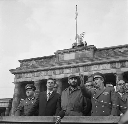 Castro and members of the East German Politburo in Berlin, June 1972 Bundesarchiv Bild 183-L0614-040, Berlin, Fidel Castro an der Grenze.jpg