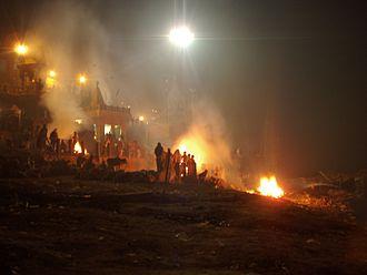 Antyesti - Burning ghats of Manikarnika, at Varanasi, India.