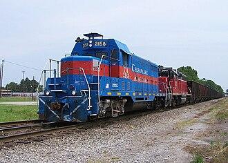 EMD GP7 - Chesapeake and Albemarle 2158 (an ex-ATSF GP7U) in Chesapeake, VA.