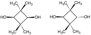 2,2,4,4-Tetramethyl-1,3-cyclobutanediol - cis- (left) and trans-2,2,4,4-Tetramethyl-1,3-cyclobutanediol (right)