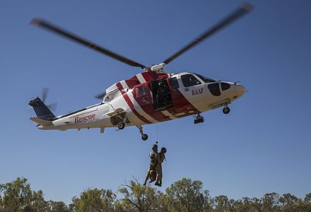 CHC Helicopters has been contracted to provide search and rescue and crash response services to all three branches of the ADF CHC Helicopter S-76 helicopter during Exercise Pitch Black in August 2016.jpg