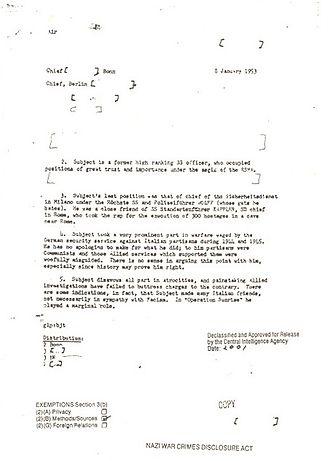 Theo Saevecke - Image: CIA Saevecke 8. Januar 1953 Seite 1