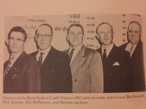 Colorado Interstate Gas - CIG Bivins Federal Credit Union Directors in 1957, left to right, John Crews, Ray Storseth, Dick Scanlan, Dee McPherson, and Herman Jackson
