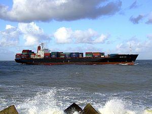 CMA CGM Elbe p8 approaching Port of Rotterdam, Holland 21-Jan-2007.jpg
