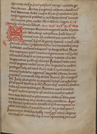 Gesta Hammaburgensis ecclesiae pontificum - Beginning of Book 1 in the Vienna manuscript (Codex Vindobonensis 521, fol. 3r).