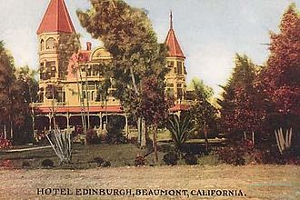 Beaumont, California - A postcard of an early Beaumont luxury hotel sitting within local plant life typical of the area
