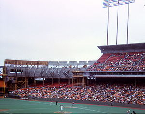 Candlestick Park - Candlestick Park upper deck expansion in progress during 1971 baseball season. Note the artificial turf then in use.