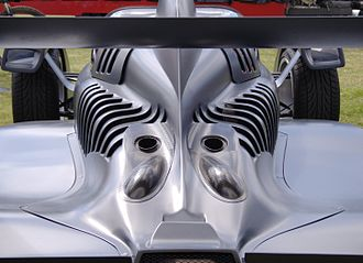 Caparo T1 - The Caparo T1's tailpipes and louvers along the F1-style body.