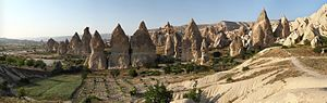 """Fairy Chimneys rock formation, nearby Gorëme, in Cappadocia, central Turkey"""