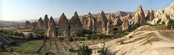 """Chimneys rock formation, nearby Gorëme, in Cappadocia, central Turkey"""