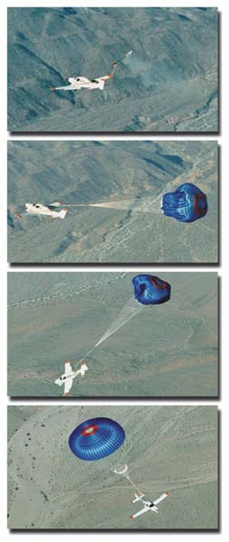 Ballistic parachute - Photo series showing a Cirrus ballistic parachute deployment in action