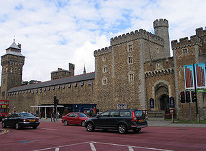 Cardiff castle front, as seen from Castle st.