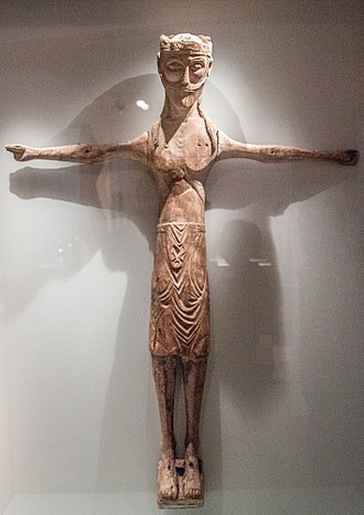 Religion in Iceland - Carved statue of Jesus Christ, c. 1200, National Museum of Iceland.