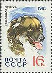 Caucasian-Shepherd-Canis-lupus-familiaris SU 1965 stamp.jpg