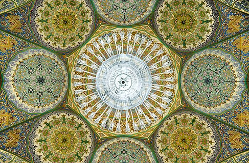 Ceiling of a shabestan in Fatima Masumeh Shrine, Qom, Iran