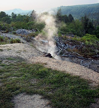 Centralia, Pennsylvania - Toxic gas and smoke rising from the ground above the underground fire in 2006