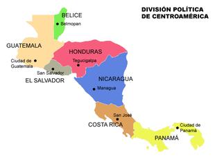 Carta politica della parte continentale dell'America Centrale