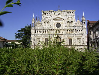 Certosa di Pavia - View of the façade.