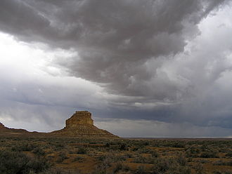 Chaco Culture National Historical Park - Summer thunderstorms over Fajada Butte and the Fajada Gap, near the southwestern rim of Chaco Canyon