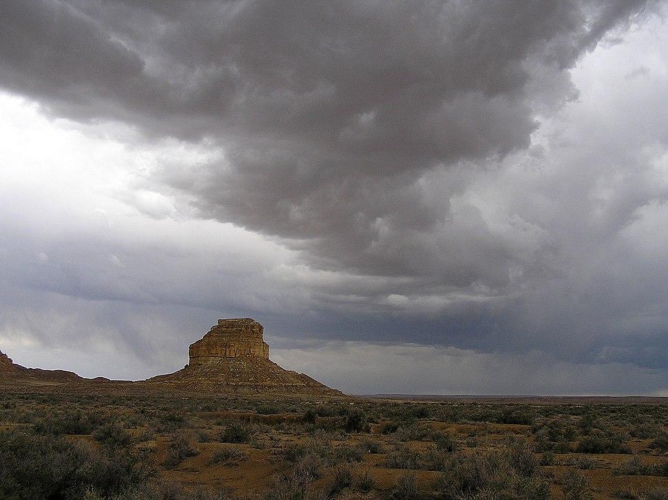 Chaco Canyon Fajada Butte summer stormclouds