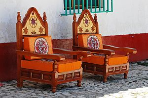 Handcrafted chairs for sale at Ixcateopan, Gue...