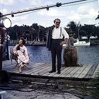 "Chana Eden and Emmett Kelly on the set of ""Wind Across the Everglades,"" Everglades National Park.jpg"