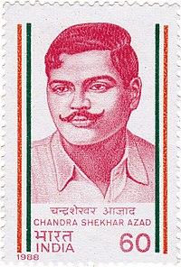 Chandra Shekhar Azad 1988 stamp of India.jpg