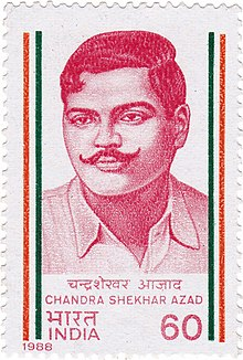 Chandra Shekhar Azad 1988 stamp of India.jpg