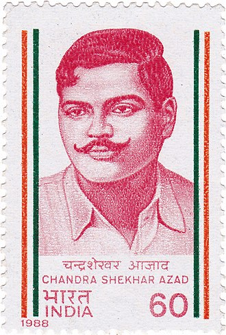 Chandra Shekhar Azad - Chandra Shekhar Azad on a 1988 stamp of India