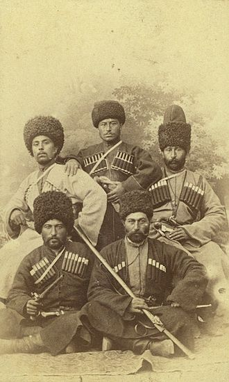 Chechens - Five Chechen men dressed in the chokha male dress of the Caucasus, late 19th century