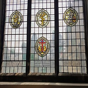 Archdeacons in the Diocese of Chelmsford - A window on the south side of Chelmsford Cathedral, showing the seals of the four pre-2013 archdeaconries.