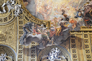 Church of the Gesù - Detail of ceiling showing the trompe l'oeil effect
