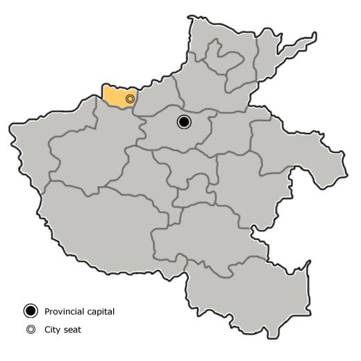 Location of Jiyuan City jurisdiction in Henan