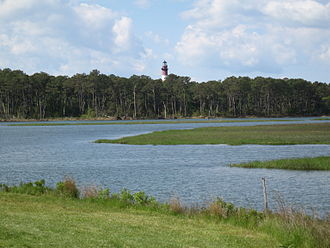 Chincoteague National Wildlife Refuge - Assateague Channel with Assateague Light in the distance
