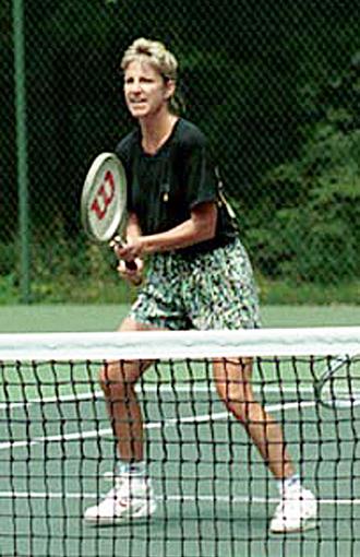 Evert–Navratilova rivalry - Image: Chris Evert playing tennis at Camp David