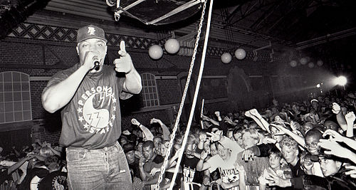 Chuck D of Public Enemy has offered a more positive view of ghostwriting in hip hop. Chuck D. Slakthuset i Malmö 1991.jpg