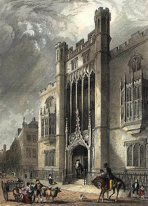 City of London School - An 1830s print showing the school building of 1835–1883 in Milk Street.