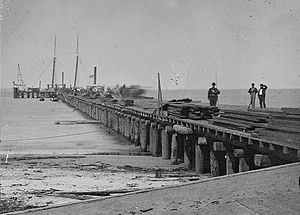 Hilton Head Island, South Carolina - Dock built by Union troops on Hilton Head Island, April 1862