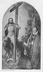 Portrait of the abbot Robert Holman, of abbey Onze-Lieve-Vrouw ter Duinen, kneeling before Christ