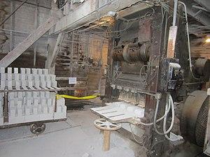 Claybank Brick Plant -  Brick press and green (unfired) bricks.