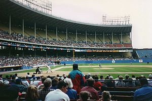 1993 Major League Baseball season - The Cleveland Indians playing host to the Milwaukee Brewers at Cleveland Municipal Stadium during a 1993 home game.