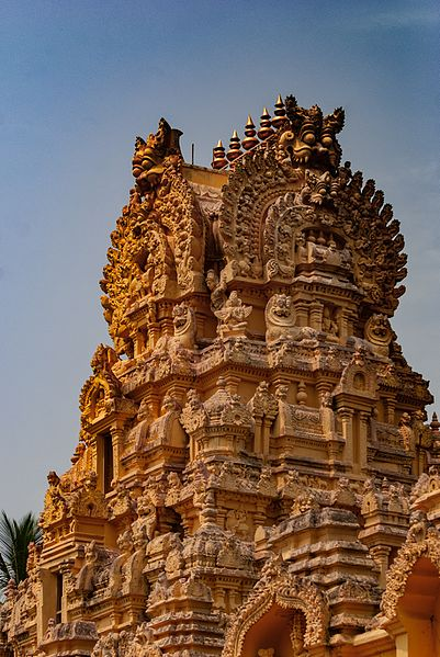 File:Close up view of the decorated vimana of Sri Cheluvanarayana Swamy Temple, Melkote.jpg