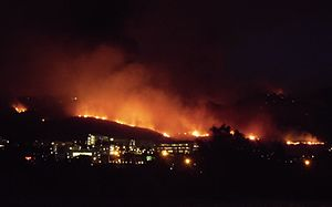 2014 California wildfires - The Cocos Fire burning above CSU San Marcos, on May 14, 2014