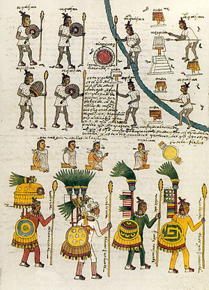 Aztec clothing - Page from the Codex Mendoza depicting warriors wearing ichcahuipilli armor and Tlahuiztli suits.