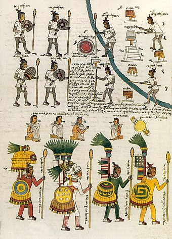 A page (folio 67), depicting indigenous Mexican warriors in the Codex Mendoza Codex Mendoza folio 67r.jpg