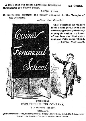 Coin's Financial School - The advertisement poster for Coin's Financial School, which includes Coin, the fictional financier, on the right.